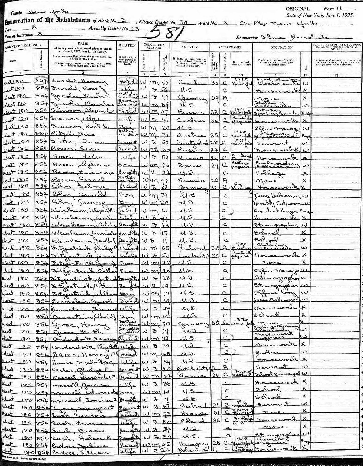 1925 New York State Census of Alexander Massell Family