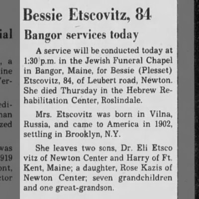 Obituary of Bessie Plesset Etscovitz